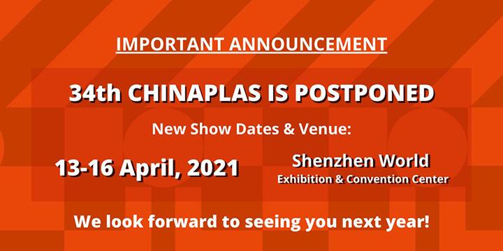 Aplazamiento y cambio de sede de la 34ª CHINAPLAS